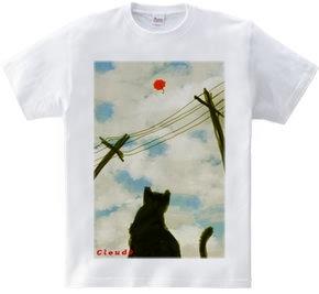 電線の向こう、猫、パラソル見上げる。