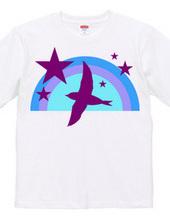 ツバメシルエットと星と虹