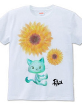 向日葵と猫