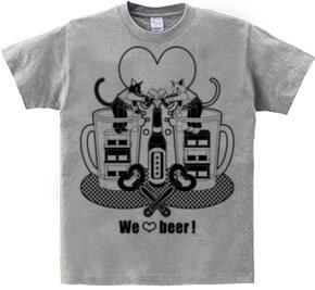 「We love beer!」モノクロ