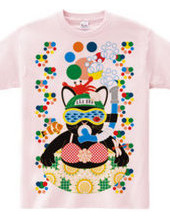 Sea bathing cat in summer colorful