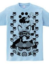 夏の海水浴猫モノクロ