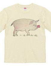 豚の水彩画