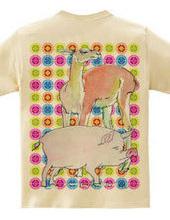 豚とラマの水彩画 パステル・ドット柄