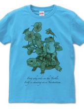 リクガメにまたがるカエル、ナスタチウムを噛む(線画)