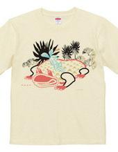 少女と巨大蛙のシュールなイラスト