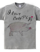 Watercolor painting pig I love cute Pigs