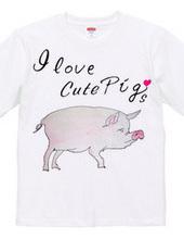 豚の水彩画 I love cute Pigs