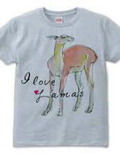 ラマの水彩画 I love Lamas