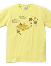 Yellow bird carries the key to happiness