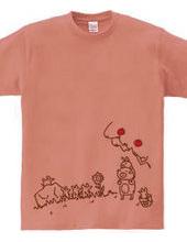 クマとウサギの肩車