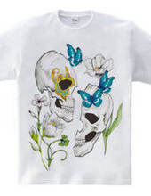 Flower and butterfly and skull