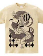 猫×少女×オニオオハシモノクロペン画