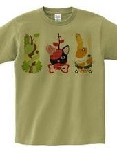 果物動物「洋梨馬」「林檎猫」「蜜柑兎」と芋虫カラフル