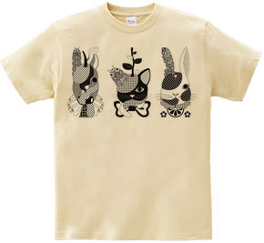 果物動物「洋梨馬」「林檎猫」「蜜柑兎」と芋虫モノクロ