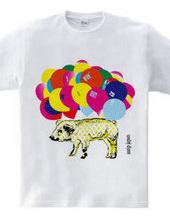 a pig wearing star pattern T-shirts