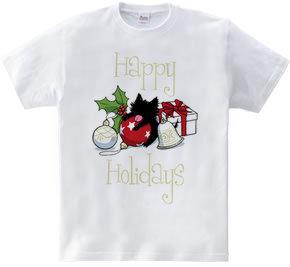 黒い子猫とクリスマスの飾り