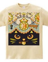 肉球陰陽太極図鍵と鍵穴白猫カップルカラフル