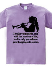 Girl blowing the trumpet