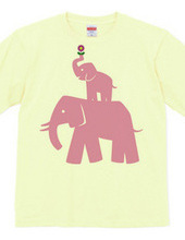 ピンクの親子象