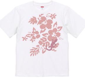 ハイビスカスとヤモリ-pink