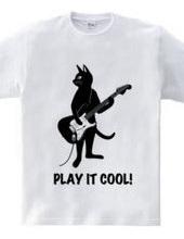 ギターを弾くネコ(猫とストラトキャスター)