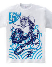 Blue Dragon tribal design pattern 04