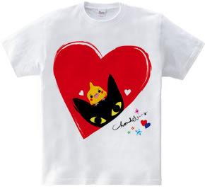 黒猫とオカメインコ ハート柄