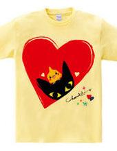 BLACK CAT & COCKATIEL HEART