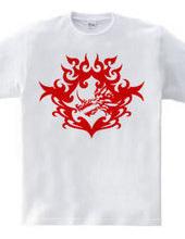 Bahamut (head) tribal design - Red-