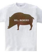 六甲山イノシシTシャツ水彩風味