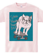 skateboarding french bulldog 青