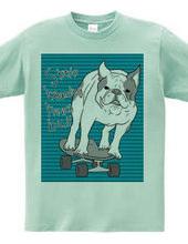 skateboarding french bulldog 青