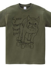 skateboarding french bulldog 白