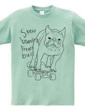 skateboarding french bulldog 白