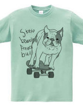 skateboarding french bulldog しろくろ