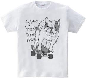skateboarding french bulldog しろくろ