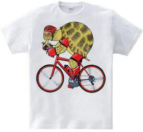 リクガメの自転車乗り
