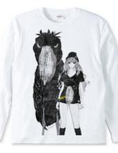 ハシビロコウTシャツの女