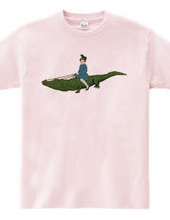Children with an alligator