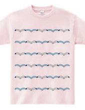 カモメと波のボーダーTシャツ
