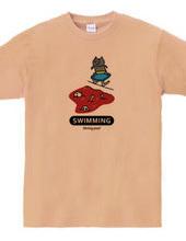 水泳 ネコと赤いプール