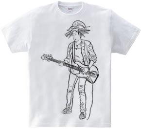 Bass Guitar Girl(black Line)