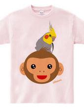 2016 happy cockatiel on monkey head