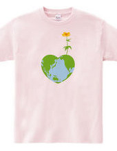ハートの地球と花2