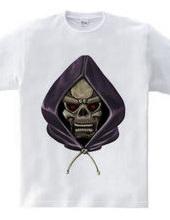 Skull wearing a hood