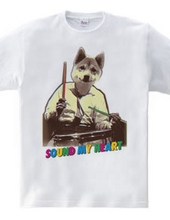 Cute dog drummer