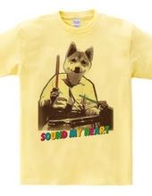Cute dog drummer