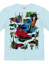 熱帯の蝶とクワガタムシ、カブトムシ