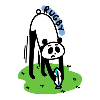 ラグビー ボールを置くパンダ